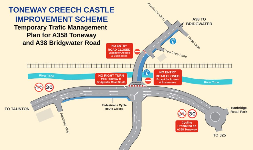 Road works at Creech Castle junction